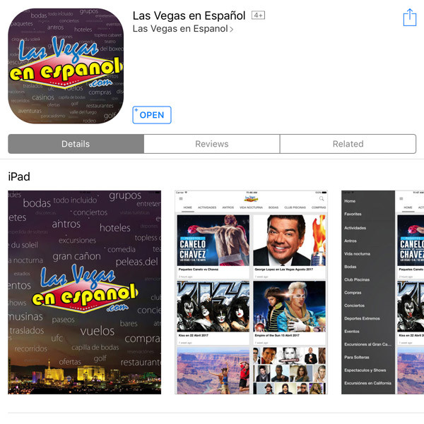 las vegas en espanol app muestra
